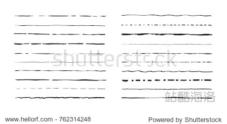Set of artistic pen brushes. Hand drawn grunge strokes. Vector illustration