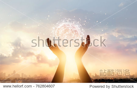 Abstract palm hands touching brain with network connections  innovative technology in science and communication concept