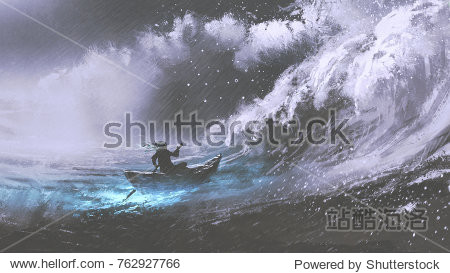 man rowing a magic boat in stormy sea with rogue waves  digital art style  illustration painting