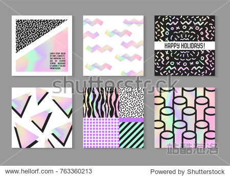 Abstract Creative Cards Posters Set with Holographic Elements. Trendy Hand Drawn Design for Banner  Placard  Invitation. Hipster Futuristic Brochure  Flyer  Leaflet. Vector illustration