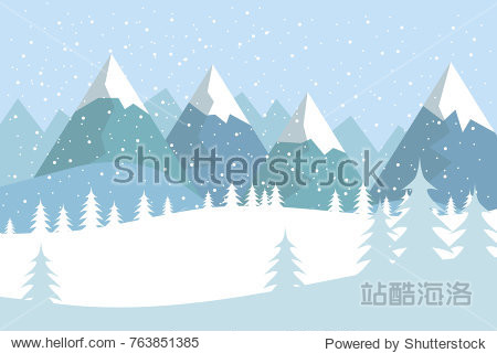 Flat vector landscape with silhouettes of trees  hills and mountains with falling snow.