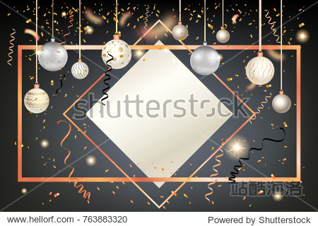 Luxury decoration with balls winter holiday background. Dark Christmas template for banners  advertising  leaflet  cards  greeting  invitation and so on.