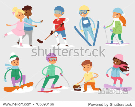 Winter vector sport kids games cute cartoon children fun cold child girls and boys sportsmen wintertime kid childhood happy illustration isolated vacation people holiday activity ski  sky  snowboard