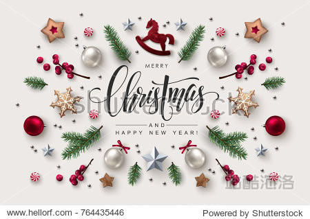 Christmas postcard with Calligraphic Season Wishes and Composition of Festive Elements such as Cookies  Candies  Berries  Christmas Tree Decorations.
