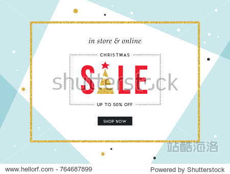 Winter Holidays Sale banner. Horizontal template. Contemporary geometric background with bold typographic design  golden glitter frame and Christmas Tree.Vector illustration.
