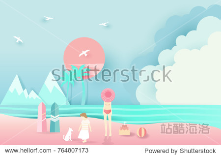 Mountain sea beach landscape with  happy family  paper art style on pastel color background.vector illustration