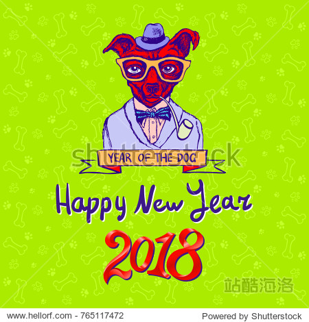 Happy 2018  year of the dog. Dog on green background. New year's greeting card. art