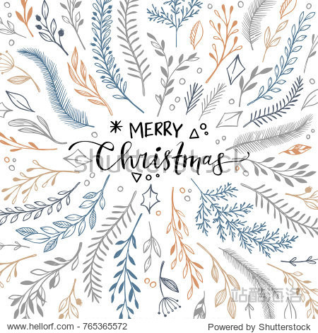 Hand drawn vector illustration - winter frame with floral elements. Christmas card in sketch style. Perfect for invitations  greeting cards  quotes  blogs  Wedding Frames  posters