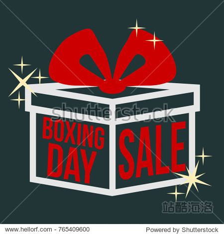 Boxing Day. Sale. Vector illustration with box  inscription and red bow on a dark background