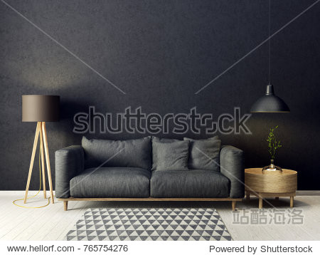 modern living room  with sofa and lamp. scandinavian interior design furniture. 3d render illustration