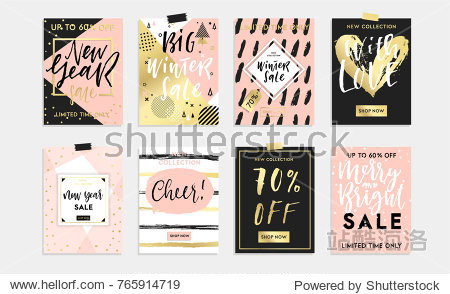 Holidays cards and posters design set. Winter  Christmas  Happy New Year templates sale banners  background  invitations  postcards  party or fashion advertisment collection. Gold style vector eps 10