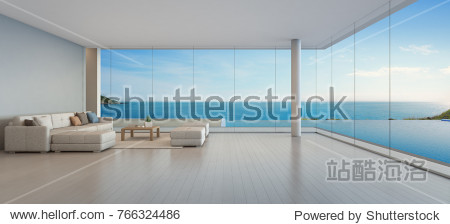 Large sofa on wooden floor near glass window and swimming pool with terrace at penthouse apartment  Lounge in sea view living room of modern luxury beach house or hotel - Home interior 3d illustration