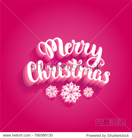 Merry Christmas snow figures lettering: ice cube letters with shadows on magenta background