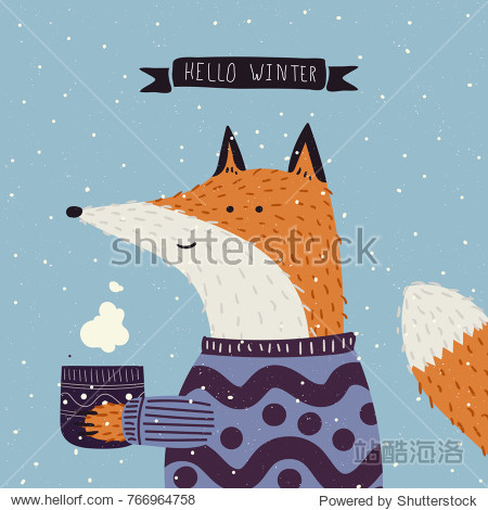 Christmas cartoon New Year characters. Fox in winter clothes. Greeting card design in blue and violet colors. Forest animals  winter holiday. Vector illustration
