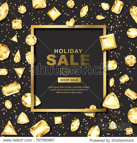 Holiday sale vector banner with 3d golden gems  jewels. Gold shiny diamonds with different cuts. Luxury texture for holiday gift and jewelry shop.