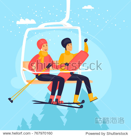 Guy and a girl on a ski lift  skiing and snowboard  winter landscape. Flat design vector illustration.