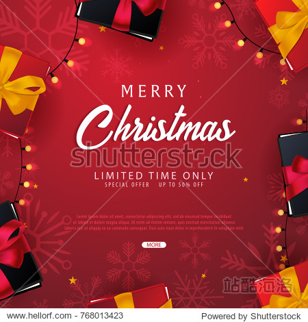 Marry Christmas and Happy New Year banner on red background with snowflakes and gift boxes. Vector illustration