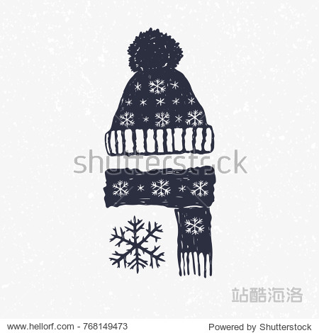 winter hat cap and scarf with snowflake. Hand drown vector illustration