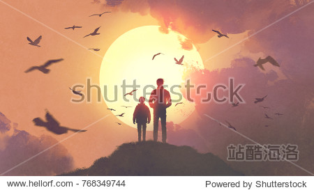 silhouette of father and son standing on the mountain looking at the sun rising in the sky  digital art style  illustration painting