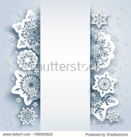Winter holiday paper cut background. Snowflakes christmas decoration for design banner  ticket  invitation  greetings  leaflet and so on. Realistic effect.