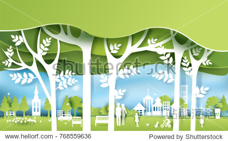 Green eco city and life paper art style  urban landscape and industrial factory buildings concept.vector illustration