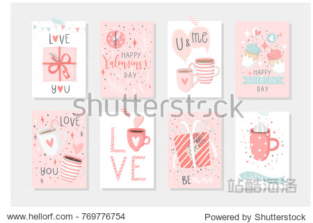 Set of 8 cute ready-to-use gift tags with penguins. Gifts  hearts  cups and magic. Printable collection of hand drawn Valentine's Day label in pink red gentle colors. Vector badge design