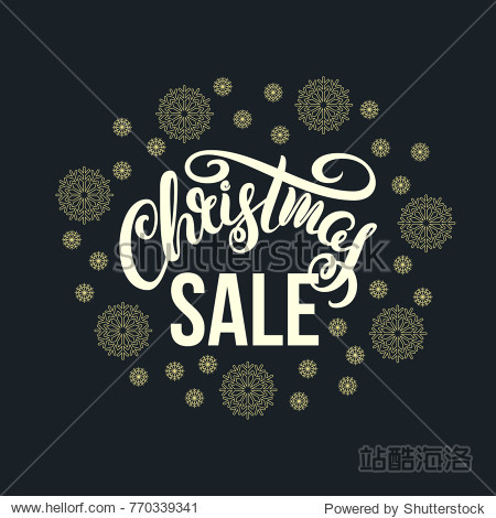 Christmas Sale. Christmas Sale. Vector illustration with hand-drawn lettering and gold snowflakes on a dark background.