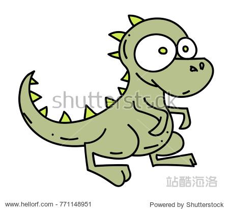 Little dinosaur cartoon hand drawn image. Original colorful artwork  comic childish style drawing.