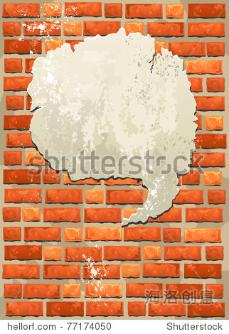 Brick wall with bubble for speech with space for text