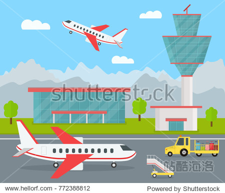 Cartoon Color Airport Terminal Building  Airplanes and Landscape Background Tourism Elements Concept Flat Design. Vector illustration of Airfield