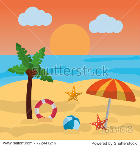 beach summer palm umbrella ball starfish sun cloud and sea
