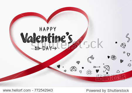 Red heart ribbon and Happy valentine's day with doodles of love icon on white background  vector art and illustration.