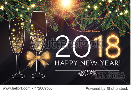 Happy New 2018 Year and Christmas Design Template with Champagne Glasses  Gold Effects  Fir Tree Branches  Bow  and Flash light. Vector illustration