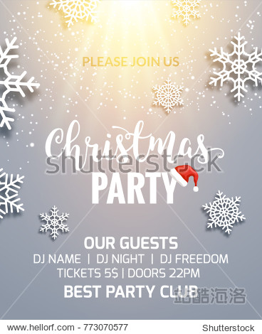 Christmas party poster invitation with light decoration design. Xmas holiday template background with snowflakes.