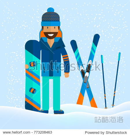 Winter sport background with character and skiing   snowboarding set equipment  in flat style design. Elements for ski resort picture  mountain activities  vector illustration.