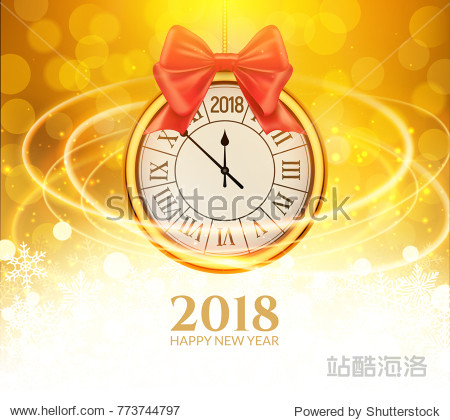 2018 new year shining background with clock. Happy new year 2018 celebration decoration golden balls poster  festive card template.