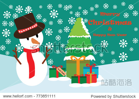 Merry christmas with snowman and gift box in winter backgrounds