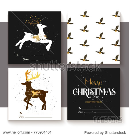 Set of merry christmas elements with lettering  seamless pattern and illustration. Retro golden stile.