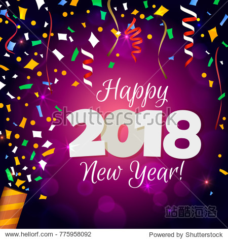 Happy New Year 2018. Vectorial illustration