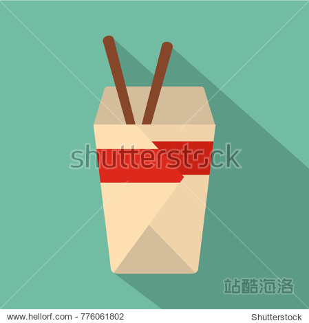 Chinese fast food icon. Flat illustration of chinese fast food vector icon for web