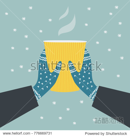 a winter illustration of two hands in warm patterned knitted gloves holding a paper cup with a steaming hot drink on a snowy background; a vector flat cartoon design; digitally hand drawn