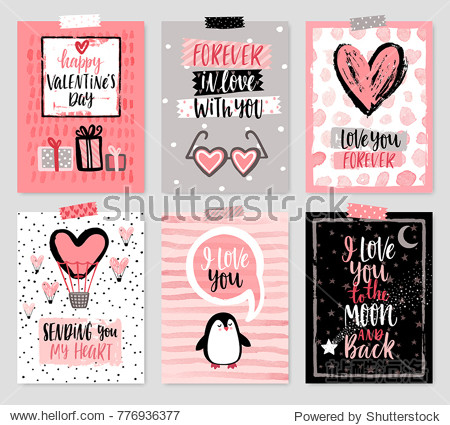 Valentine`s Day card set - hand drawn style with calligraphy. Vector illustration.
