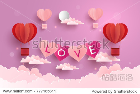 illustration symbol of love with the design of paper art and craft. a purple background with clouds and hot air balloons as a symbol of love