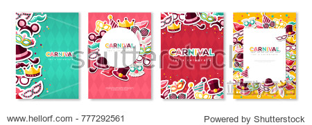 Carnival colorful posters set  flyer or invitation. Vector illustration. Funfair funny tickets design with pattern and emblem. Place for your text message.