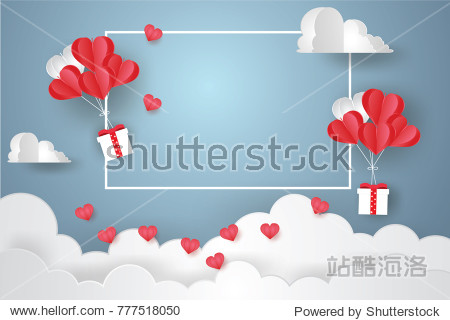 Valentine's day concept.Balloon  in a heart shape floating and Gift Box with text in white border on blue sky background.Paper and craft art