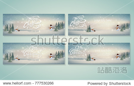 Merry Christmas card set Lettering Design. Vector illustration. EPS 10