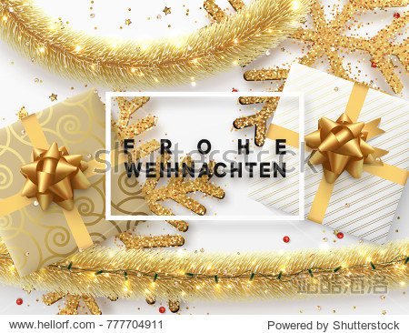 German text Frohe Weihnachten. Christmas background. Design illustration golden bright decorations  shining sparkles of snowflakes  gift box  gold tinsel and light garland. Xmas card