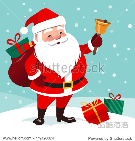 Vector cartoon illustration of friendly smiling  Santa Claus ringing a bell  sack with gifts on back  snow falling in the background  presents lying around on the ground. Christmas design element.