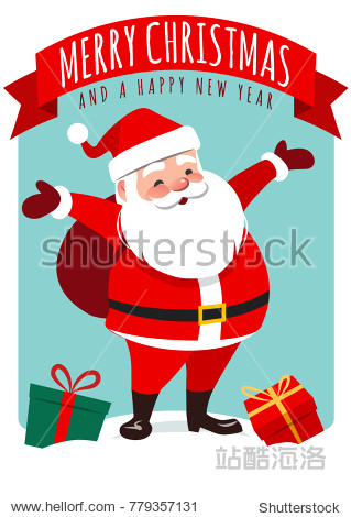 """Vector cartoon illustration of cute smiling Santa Claus standing with gift sack on back  gift boxes around  red ribbon banner with text """"Merry Christmas and a happy new year"""". Holiday greeting card."""