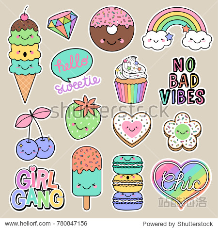 Set of girl fashion patches  cute cartoon badges  fun stickers desserts vector  positive thinking words design.